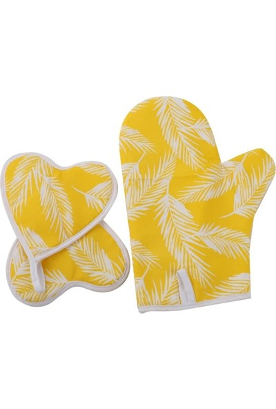 Shome 3\'lü Mutfak Önlük Seti - Isıya Dayanıklı Leke Tutmaz Önlük Seti - Sarı Yaprak Deseni
