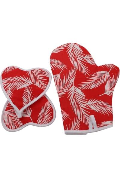 Shome 3\'lü Mutfak Önlük Seti - Isıya Dayanıklı Leke Tutmaz Önlük Seti - Kırmızı Yaprak Deseni