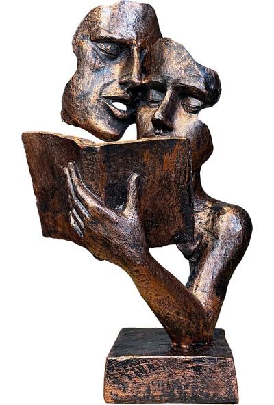 Ağaçkakan Desing Modern Dekoratif Kitap Okuyan Biblo-Bakır
