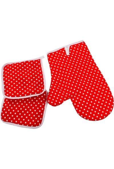 Shome 3\'lü Mutfak Önlük Seti - Isıya Dayanıklı Leke Tutmaz Önlük Seti - Kırmızı Puantiyeli