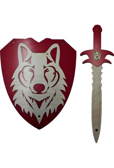 Ahtek Ahşap Kurt Başlı Kılıç ve Kalkan Seti