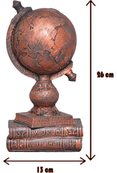 Ağaçkakan Desing Modern Dekoratif Dünya Figürlü Biblo-Bakır