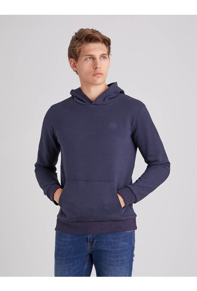 Dufy Lacivert Içi Polarlı Kapüşonlu Erkek Sweatshirt - Slım Fıt