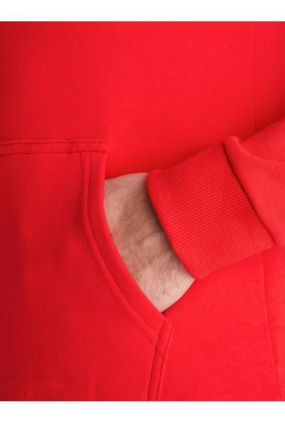 Dufy Nar Çiçeği Düz Erkek Sweatshirt - Regular Fıt