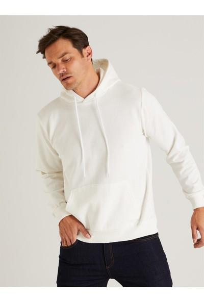 Dufy Ekru Kapüşonlu Kanguru Cepli Erkek Sweatshirt - Slım Fıt