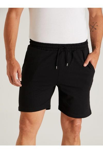 Dufy Siyah Düz Erkek Short - Slım Fıt