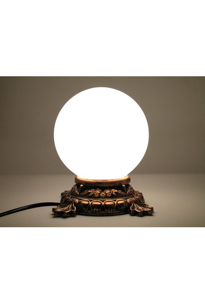 Burdan Eve Bronz Eskitmeli Küre Gece ve Masa Lambası Sarı Işıklı