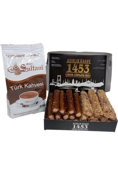 Asırlık Kahve 1453 Türk Kahvesi 250 gr ve Karışık Fındık Kremalı Pestil Sarması 450 gr - 2 Li Avantaj Paket