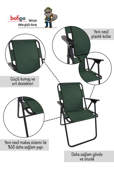 Bofigo Kamp Sandalyesi Katlanır Sandalye Piknik Sandalyesi Plaj Sandalyesi - Yeşil