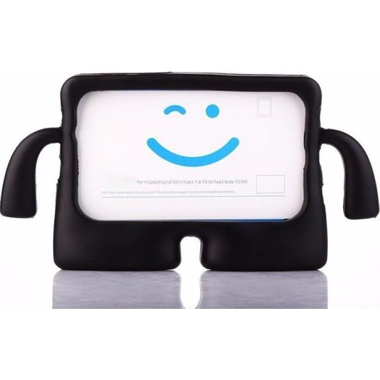 Caseart Huawei T3 7 Renkli Tutacaklı Stantlı Silikon Çocuk Tablet Kılıfı - Siyah