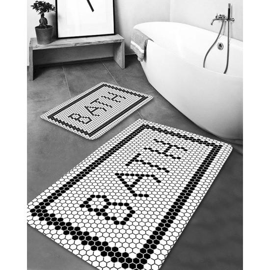 Hayveys Black Bath Yıkanabilir 2li Banyo Halısı Paspas Klozet Takım