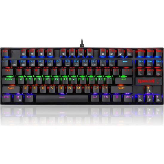 Redragon Kumara K552-2 Rainbow Aydınlatmalı Türkçe Oyuncu Mekanik Klavye Kırmızı Switch (Red Swıtch)