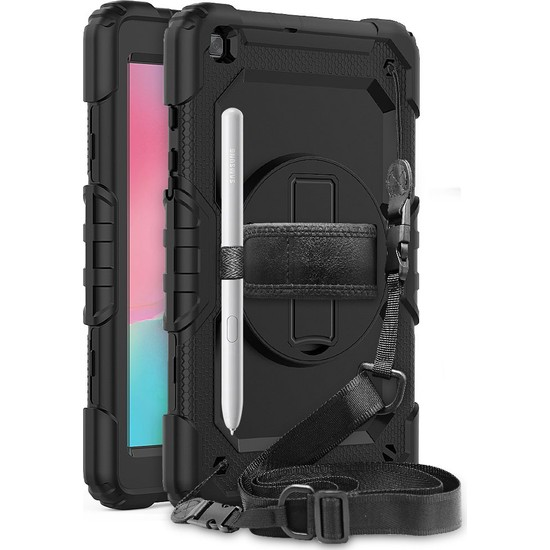 """Wowlett Samsung Galaxy Tab S6 Lite 10.4"""" P610 Kılıf Full Protection Zırh Standlı Askı Ipli Kılıf Siyah"""
