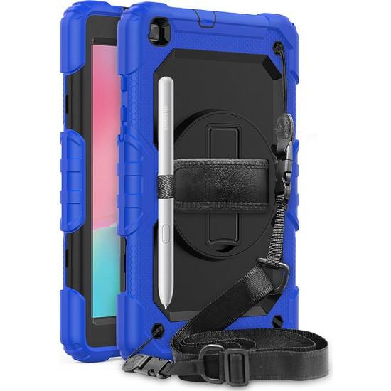 Wowlett Samsung Galaxy Tab A 8.0 Inç ''T290 T295 T297'' Uyumlu Kılıf Full Protection Zırh Standlı Kılıf Mavi