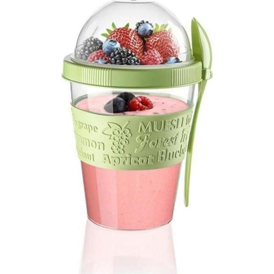 VIPGROSS Take'n Go Kapaklı Kaşıklı Hazırla ve Çık Meyveli Yoğurt Kabı