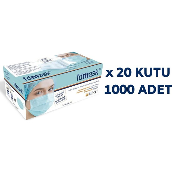 Fdmask Meltblown Cerrahi Maske 3 Katlı Full Ultrasonik Sertifikalı Telli (1000 Adet)