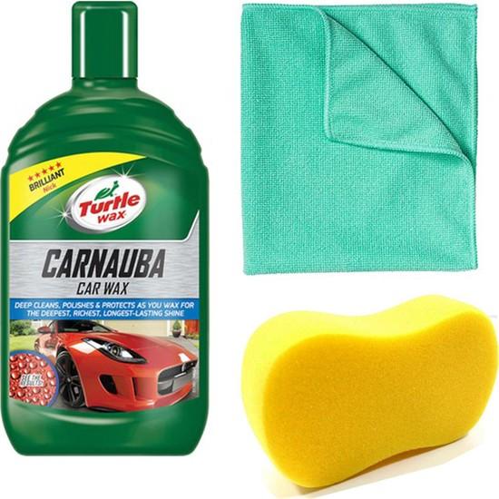 Turtle Wax Boya Koruyucu Carnauba Sıvı Cila 500 ml + Mikrofiber Bez + Yıkama Süngeri