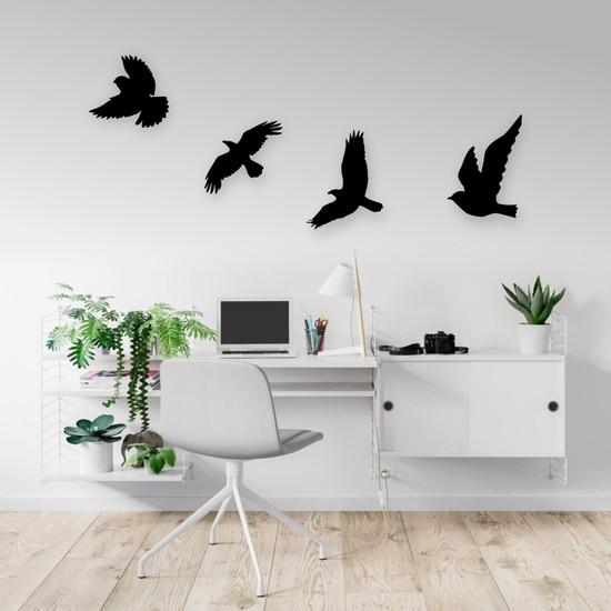Ikbal Market Dekoratif Modern Dörtlü Kuş Duvar Süsü Duvar Dekoru Ahşap