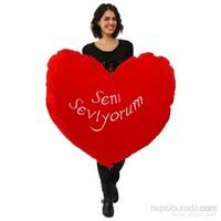 Selay Dev Peluş Kalp Yastık (100 cm)