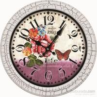 Çatlatma Boyalı Retro Duvar Saati