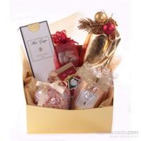 Beyaz Noel Baba Kapaklı Gold Yılbası Kutusu 12