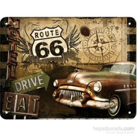 Route 66 Road Trip Metal Kabartmalı Pin Up Duvar Panosu