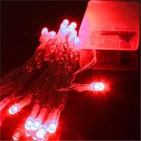 Pandoli Beyaz Kablolu 3 Metre Kırmızı Renk Pilli Led Işık