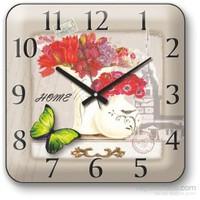 Panaroma Kız Kulesi Silüetinde Çiçek Manzaralı Duvar Saati