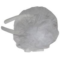 Pandoli Tüllü Ponpon Taç Beyaz