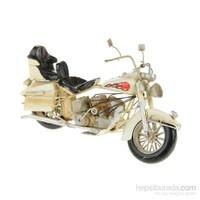 Metal Retro Beyaz Motorsiklet