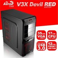 AeroCool V3X Devil Red 500W USB 2.0 ATX Siyah Kasa (AE-V3XAR500)
