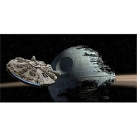 Sd Toys Star Wars Millenium Falcon Vs Death Star Sertleştirilmiş Cam Poster