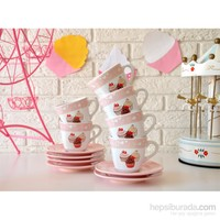 Keramika Takım Çay Yedi Tepe 12 Parça Beyaz 004 Pink Cake A