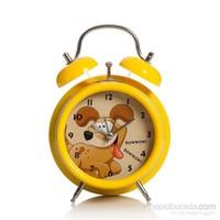 Alarmlı Masa Saati Köpekli Sarı