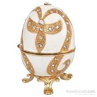 Kutulu Metal Süs Eşyası Beyaz Yumurta