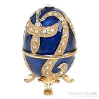 Kutulu Metal Süs Eşyası Mavi Yumurta