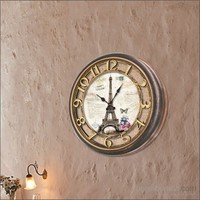 Kabartma Kadran Eyfel Kulesi Duvar Saati