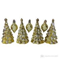 Sarı Çam Ağacı Görünümlü Süs Ve Cici Toplar