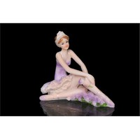 Mor Elbiseli Oturan Balerin Kız Figürlü Biblo
