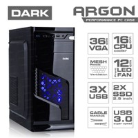 Dark Argon 12cm Mavi LED Fan, 1x USB 3.0 ATX Siyah Kasa (DKCHARGON)