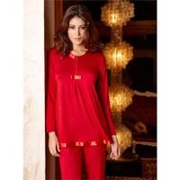 Ayyıldız 59468 Saten Bordo Pijama Takımı Kırmızı