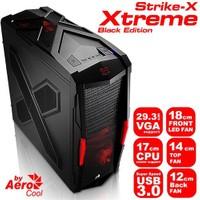 Aerocool Strike-X Xtreme Black Edition 2 x USB 3.0, 3 x Fan, SSD Ready Mid-Tower Siyah Oyuncu Kasası (AE-STR-XT)