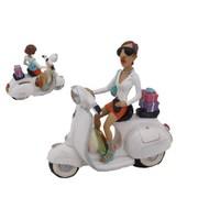 Beyaz Motorsiklet Figürlü Kumbara