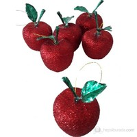 6 Lı Kırmızı Simli Elmalar Çam Ağacı Süsü