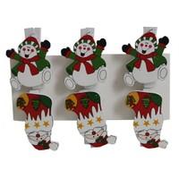 6 Lı Noel Baba Çorap Şekilli Mandal Süs