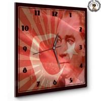 Artred Gallery 35X35 Ahşap Kare Atatürk Saat