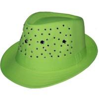 Pandoli Taşlı Party Fötr Şapka - Yeşil