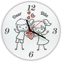 İsme Özel Karikatürlü Cam Duvar Saati