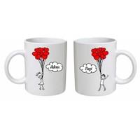 Sevgiliye Özel İsimli Çift Kupa Bardak