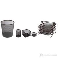 3A Metal Ofis Seti 5'li Siyah (Evrak Rafı 3'lü + Çöp Kovası + Kalemlik + Küpnotluk+Ataşlık)